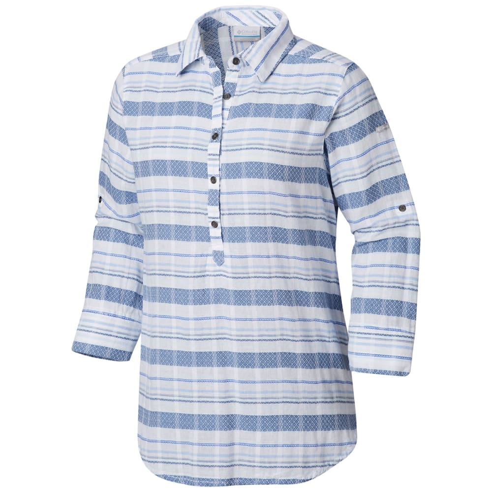 COLUMBIA Women's Summer Ease Long-Sleeve Popover Tunic Top - 456-BLUE DUSK STRIPE