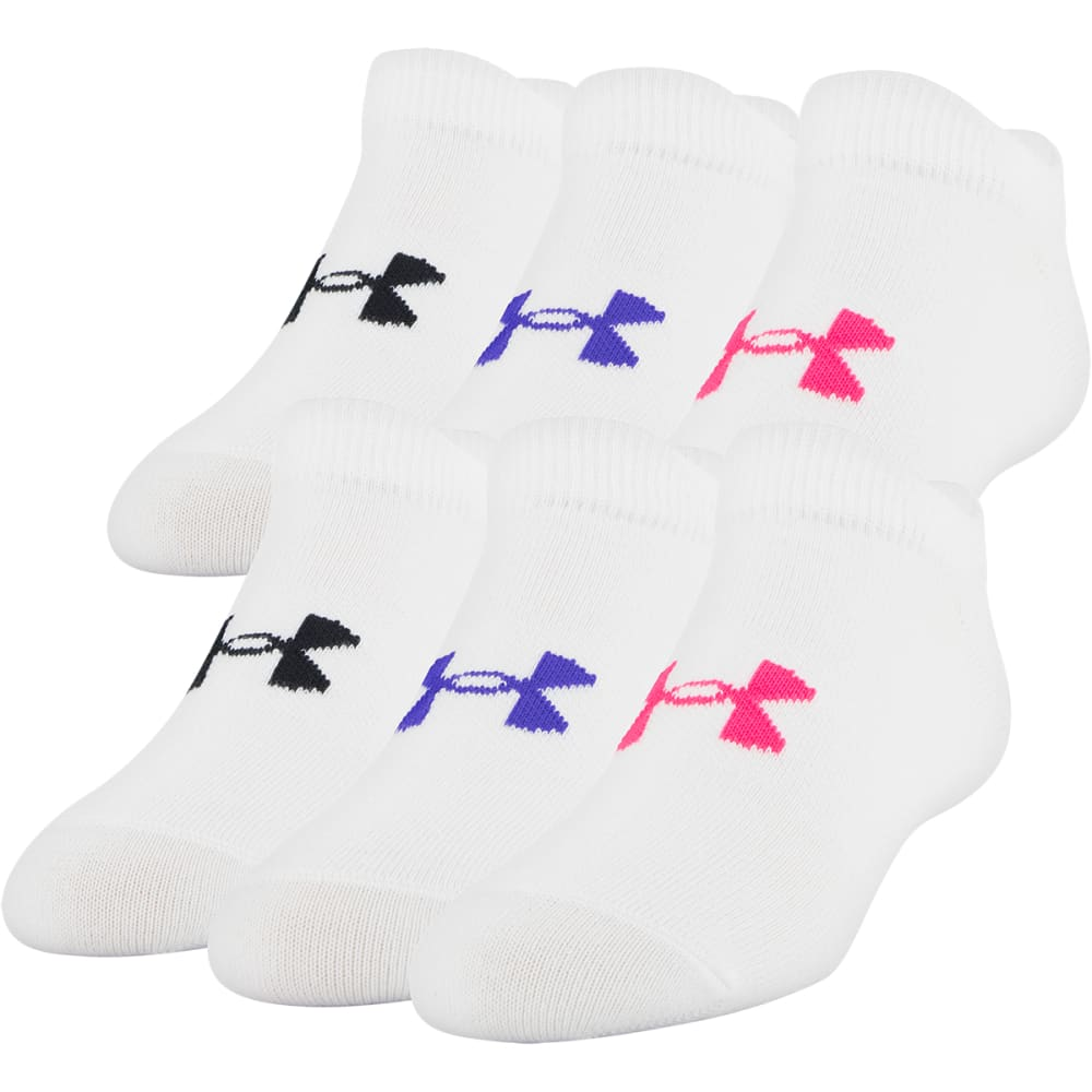 UNDER ARMOUR Girls' Essential No Show Socks, 6-Pack L