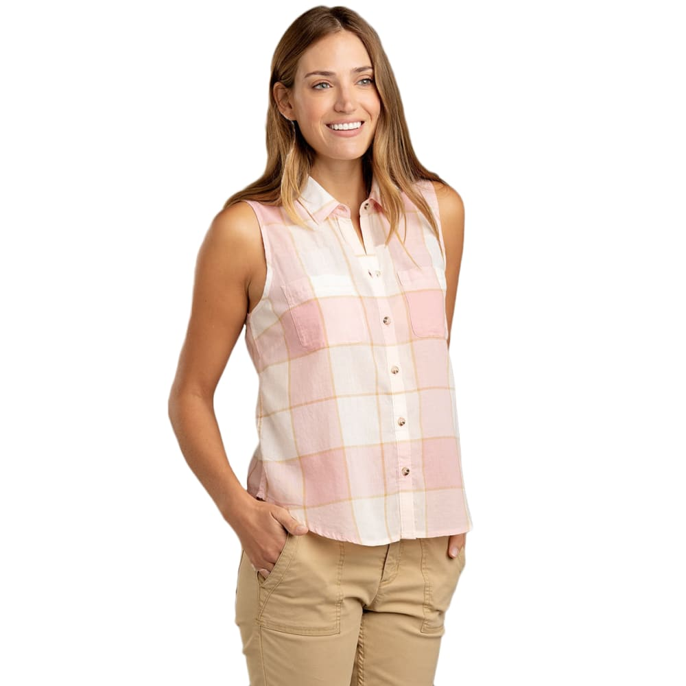 TOAD & CO. Women's Airbrush Sleeveless Deco Shirt - 657-PINK SAND PLAID