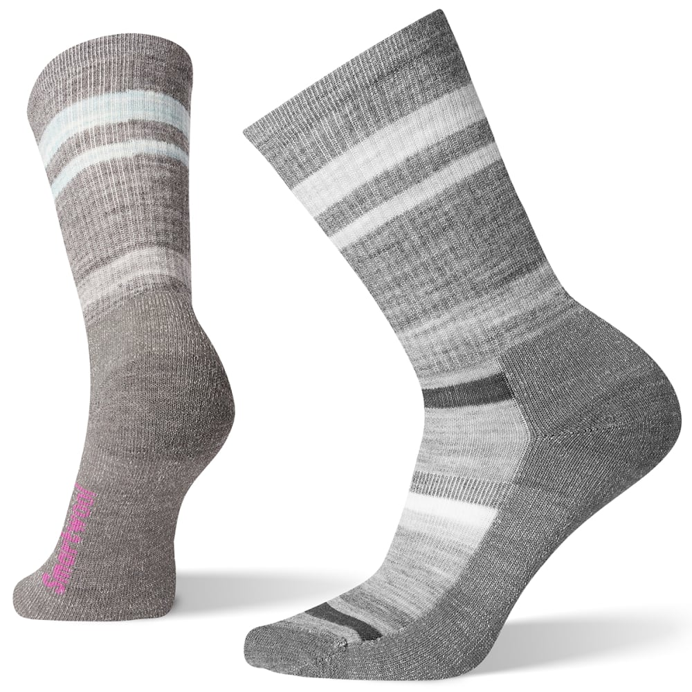 SMARTWOOL Women's Hike Striped Light Crew Socks - 052 - MED GREY