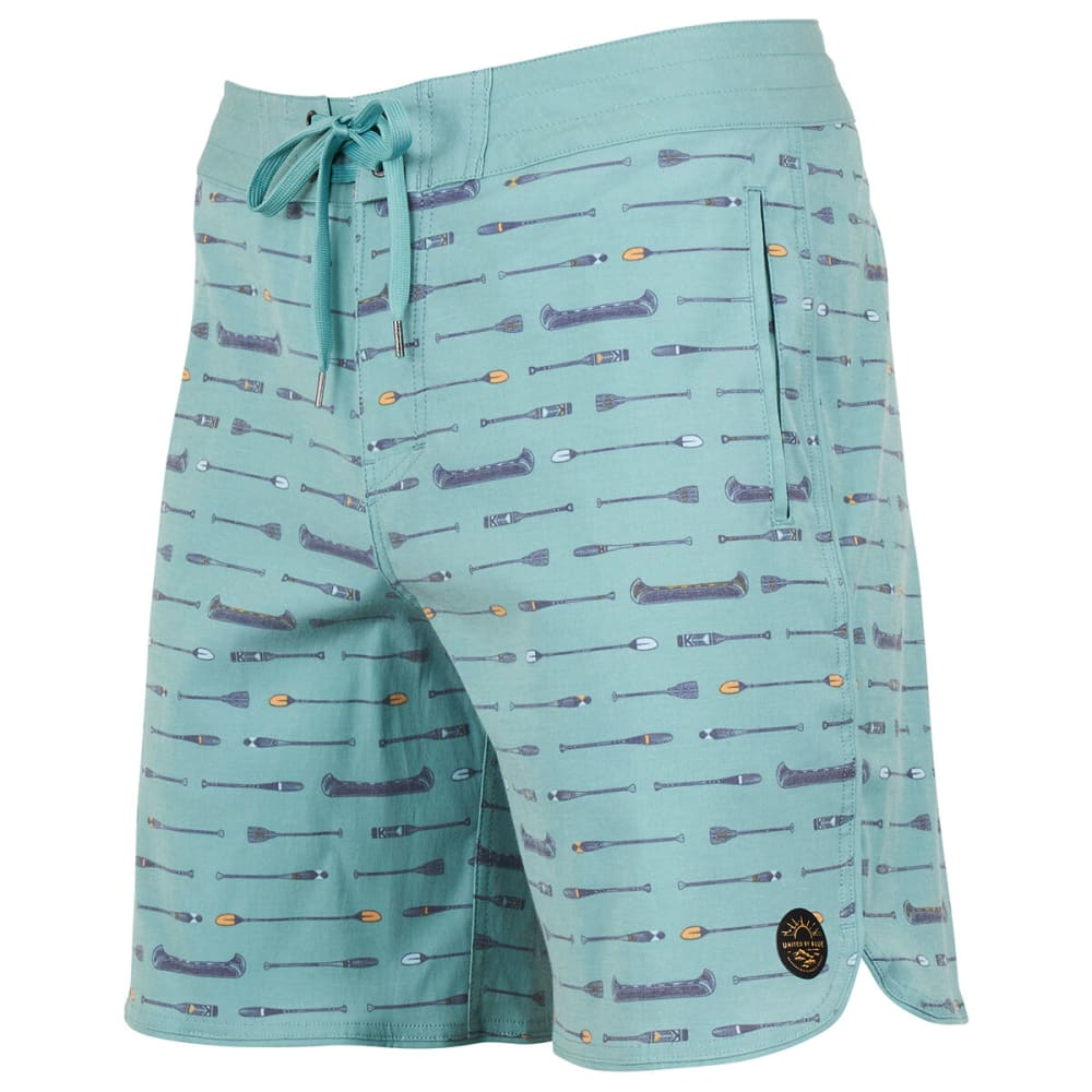 UNITED BY BLUE Men's Canoe Scallop Boardshorts - SEA GREEN
