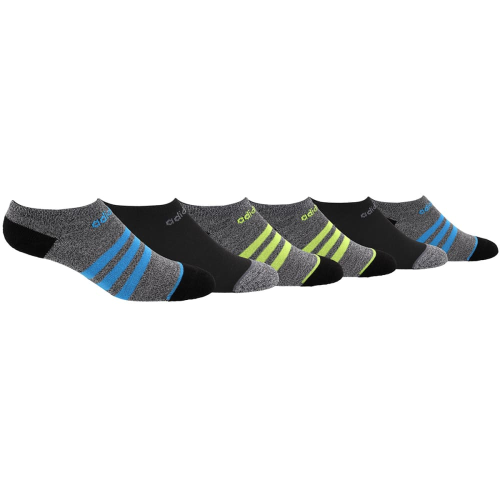 ADIDAS Boys' 3 Stripe No Show Socks, 6-Pack M