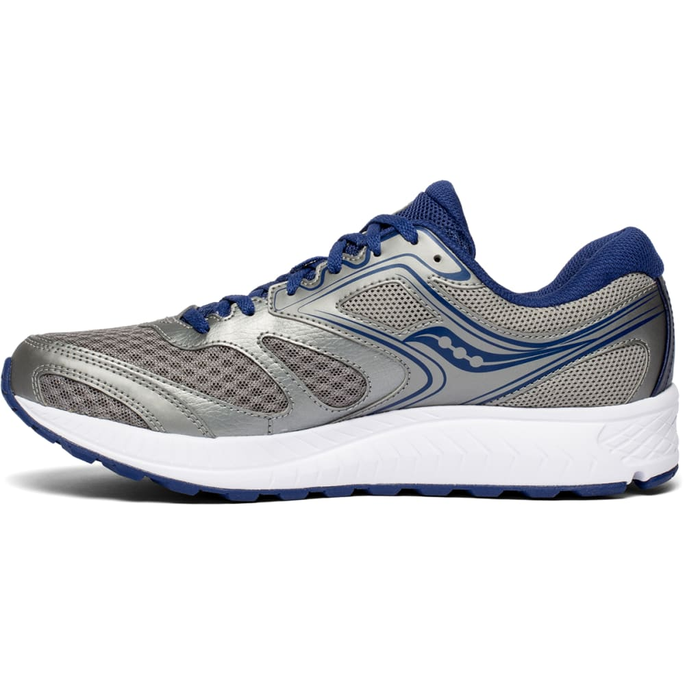 SAUCONY Men's Cohesion 12 Running Shoe, Wide - GREY/BLUE-1