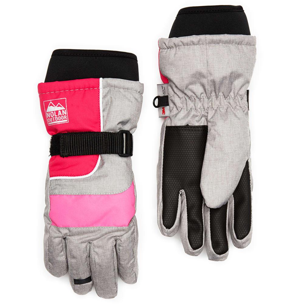 NOLAN Girls' Color-Blocked Ski Gloves - GREY/PINK