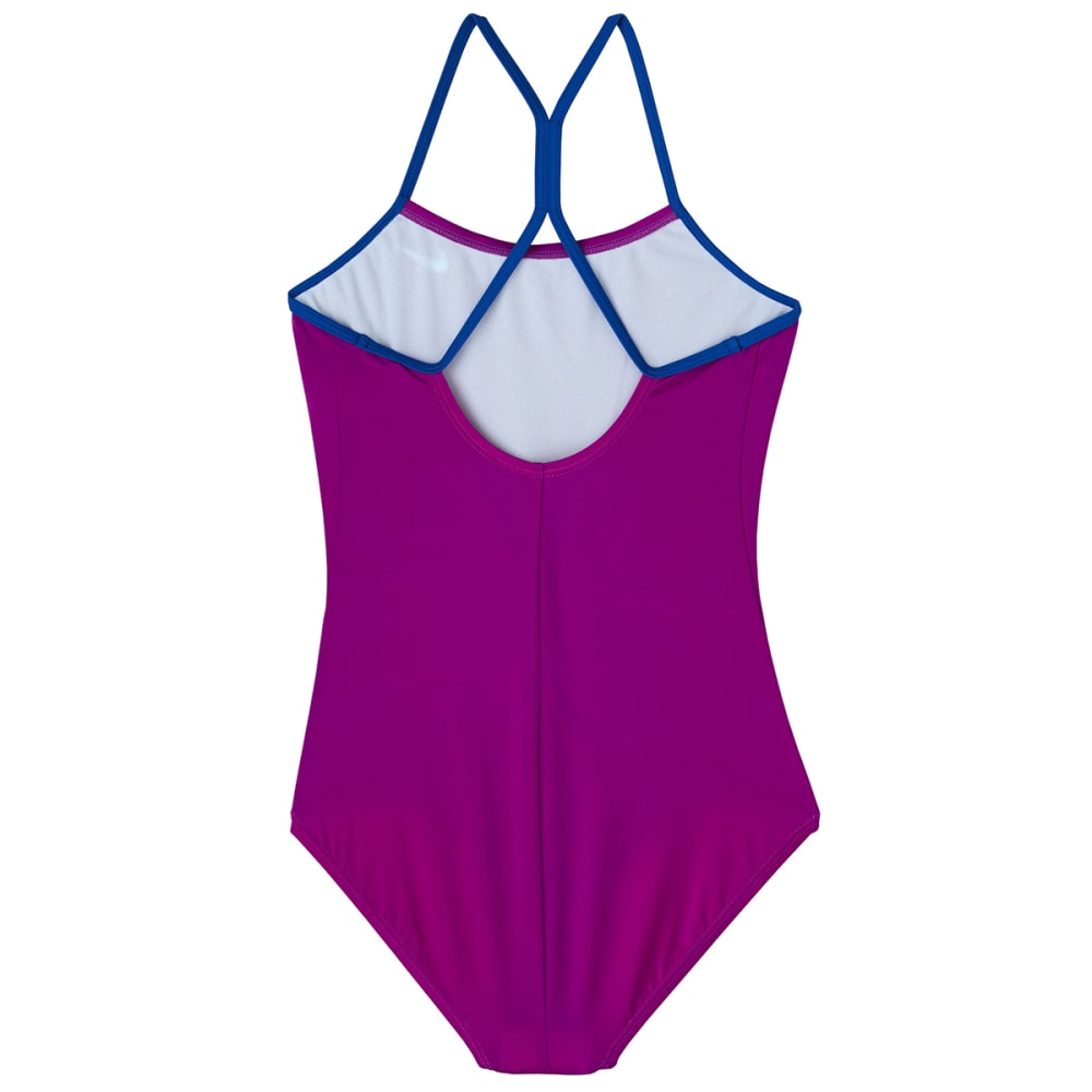 NIKE Big Girls' Solid Racerback One-Piece Swimsuit - 560 VIVD PURPLE