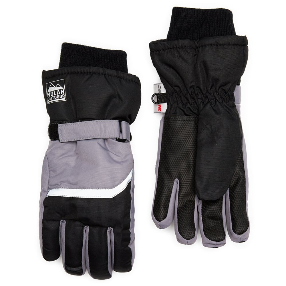 NOLAN Boys' Color-Blocked Ski Gloves - BLK/GREY
