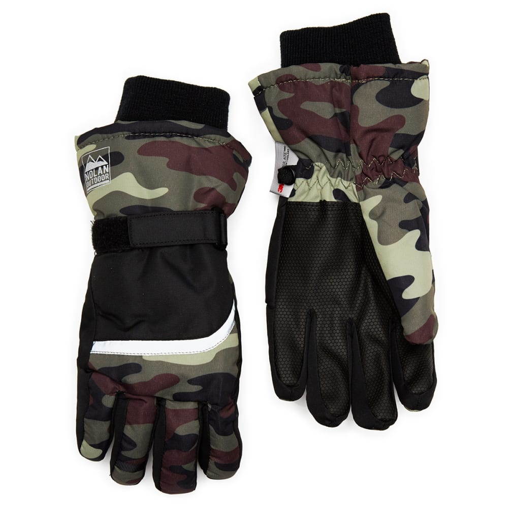 Nolan Boys' Camo Color-Blocked Ski Gloves – Black