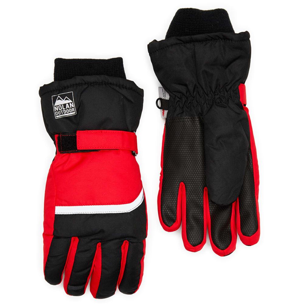 NOLAN Boys' Color-Blocked Ski Gloves - BLK/RED