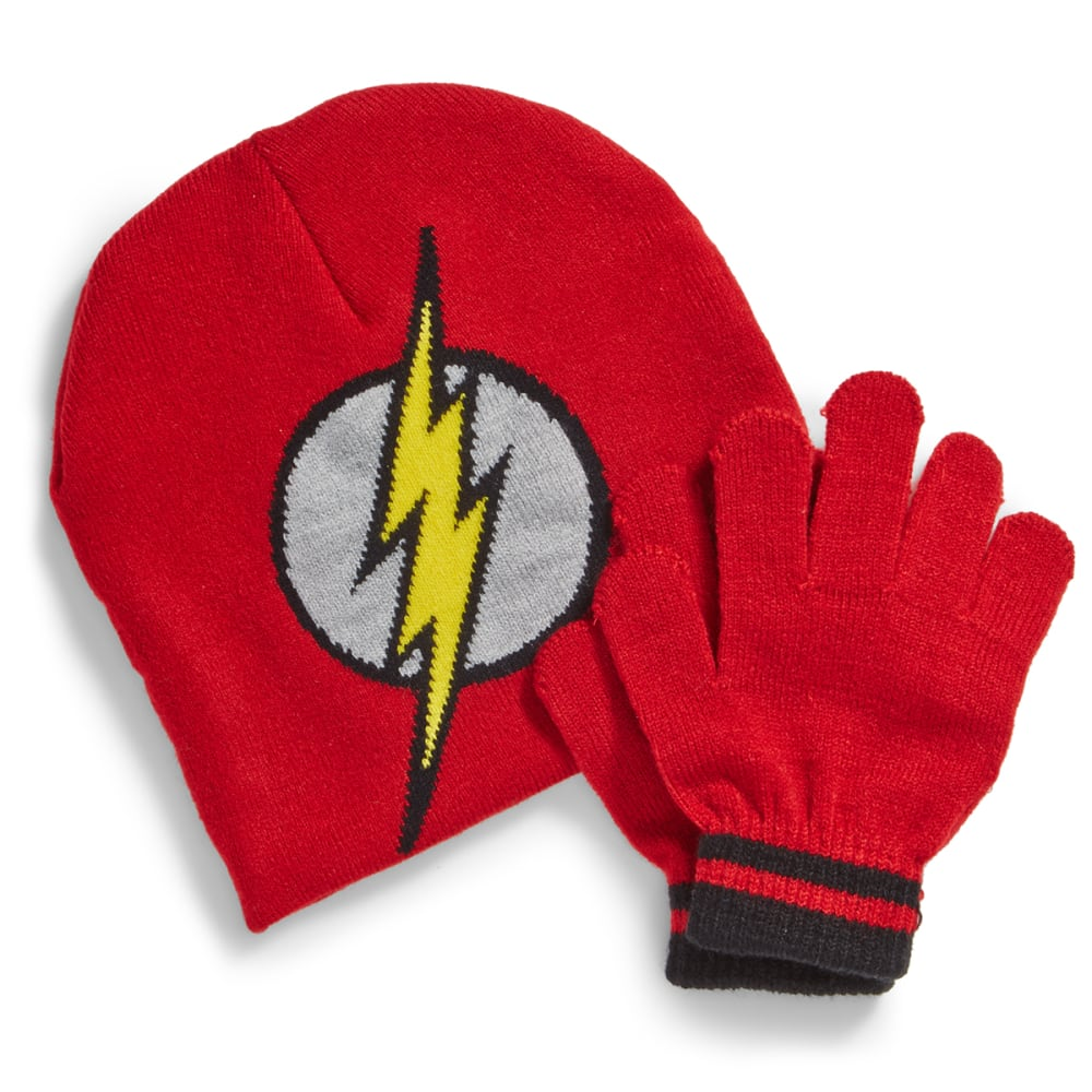 NOLAN Boys' Flash Knit Hat and Gloves Set - RED