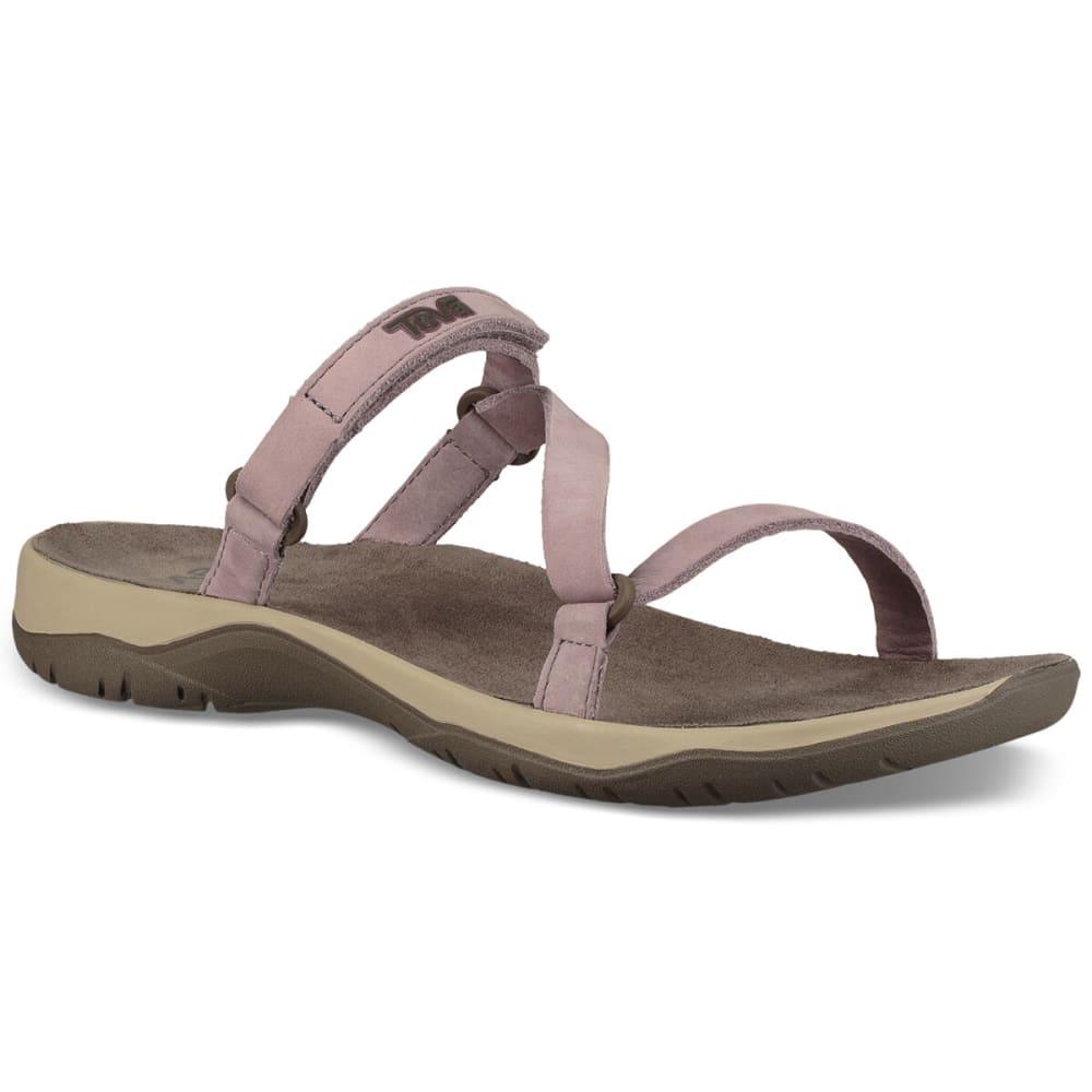 TEVA Women's Elzada Leather Waterproof Slide Sandals - QUAIL-QUA
