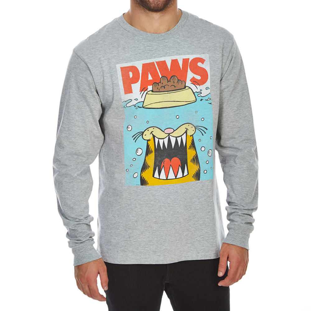 BODY RAGS Guys' Garfield Paws Jaws Long-Sleeve Tee - SPORT GREY