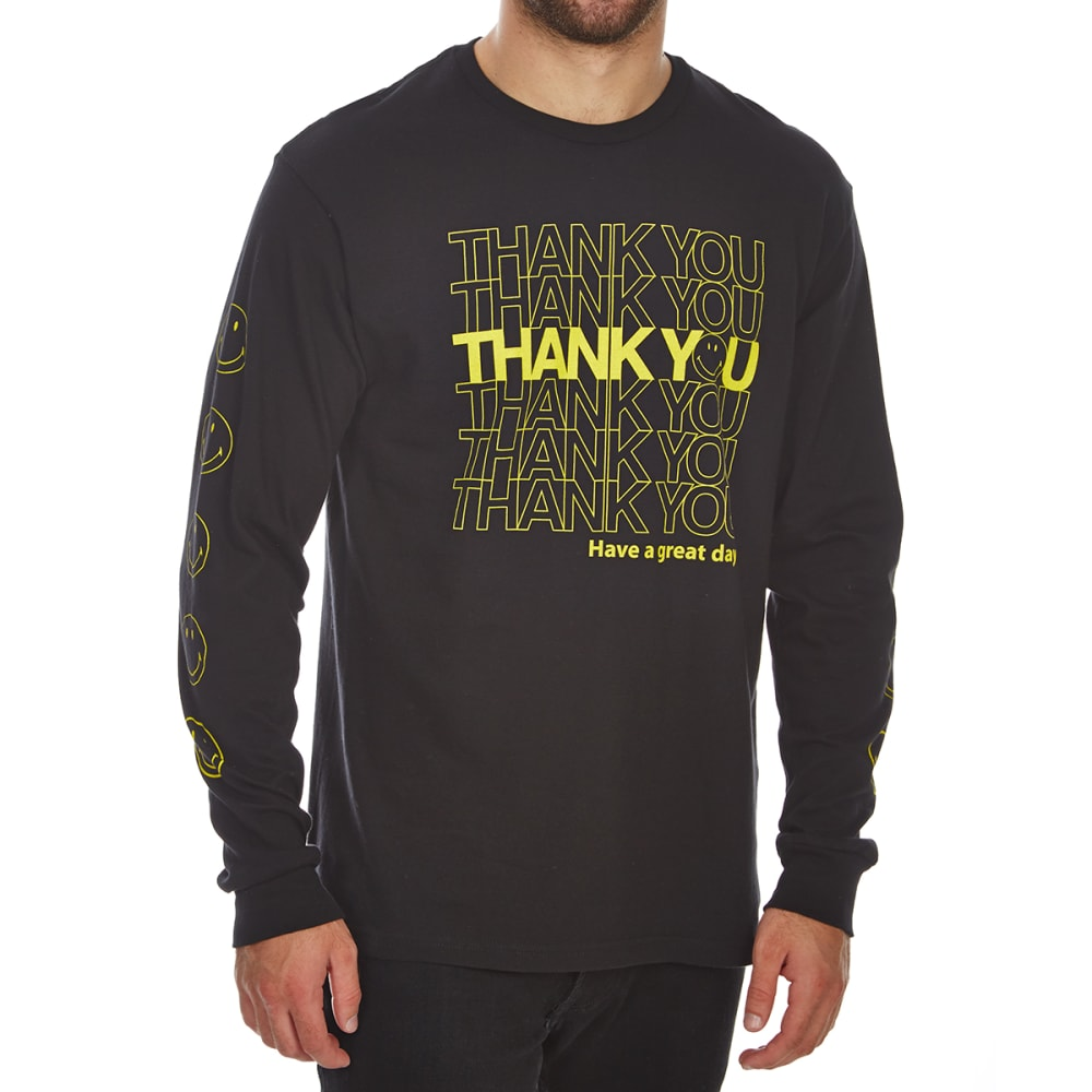 BODY RAGS Guys' Thank You Smiley World Long-Sleeve Tee - BLACK