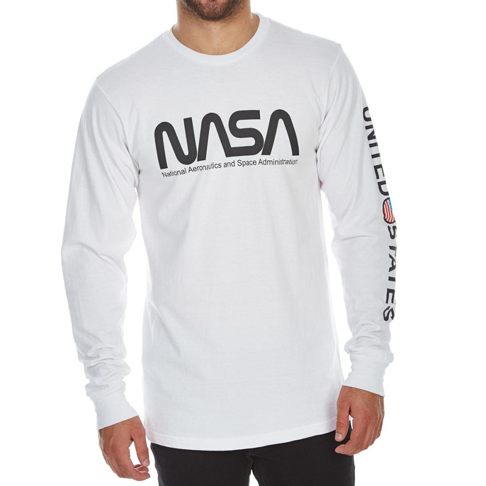 BODY RAGS Guys' NASA USA Flag Circle Long-Sleeve Tee - WHITE