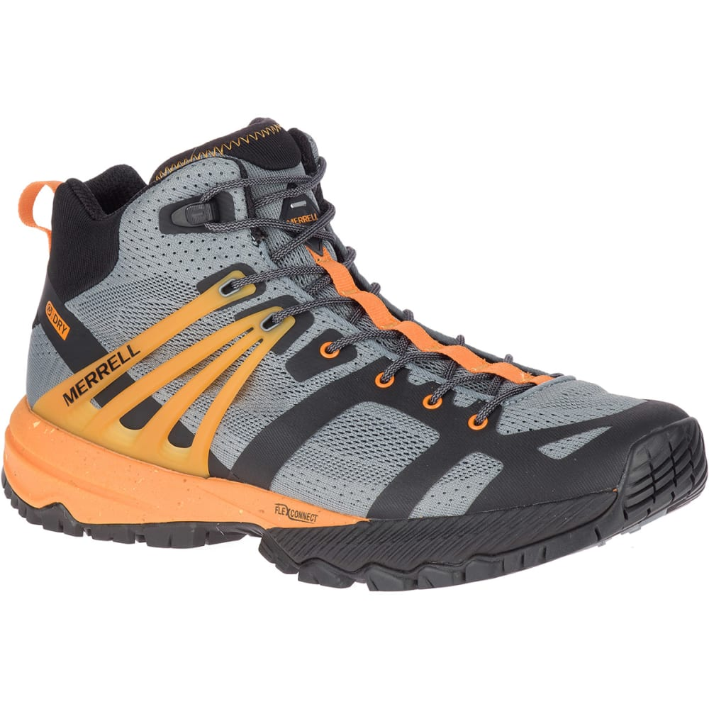 MERRELL Men's MQM Ace Mid Waterproof Trail Shoe - MONUMENT/FLAME