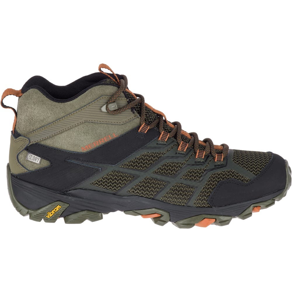 MERRELL Men's Moab FST 2 Mid Waterproof Hiking Boots - OLIVE/ADOBE