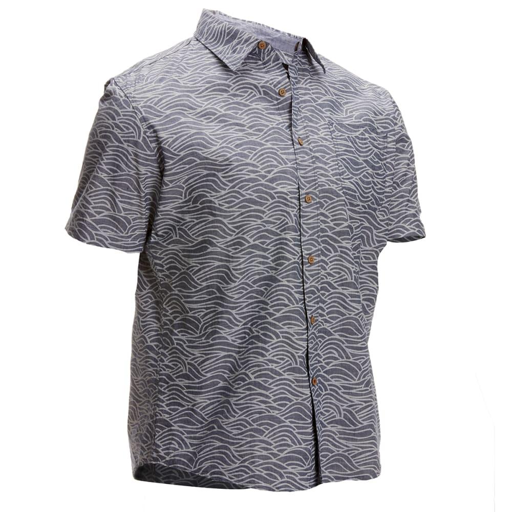 OCEAN CURRENT Guys' Waves Woven Short-Sleeve Shirt - INDIGO