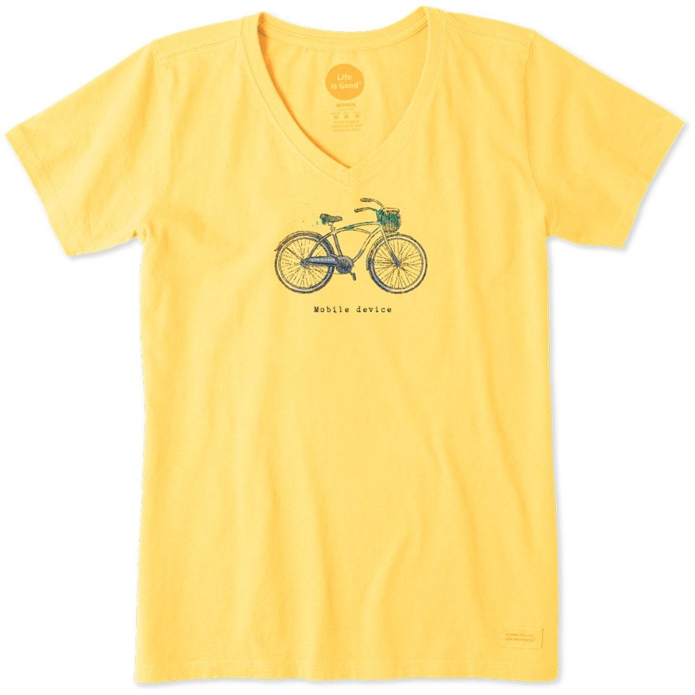 LIFE IS GOOD Women's Mobile Device Bike Cool Tee - HAPPY YELLOW