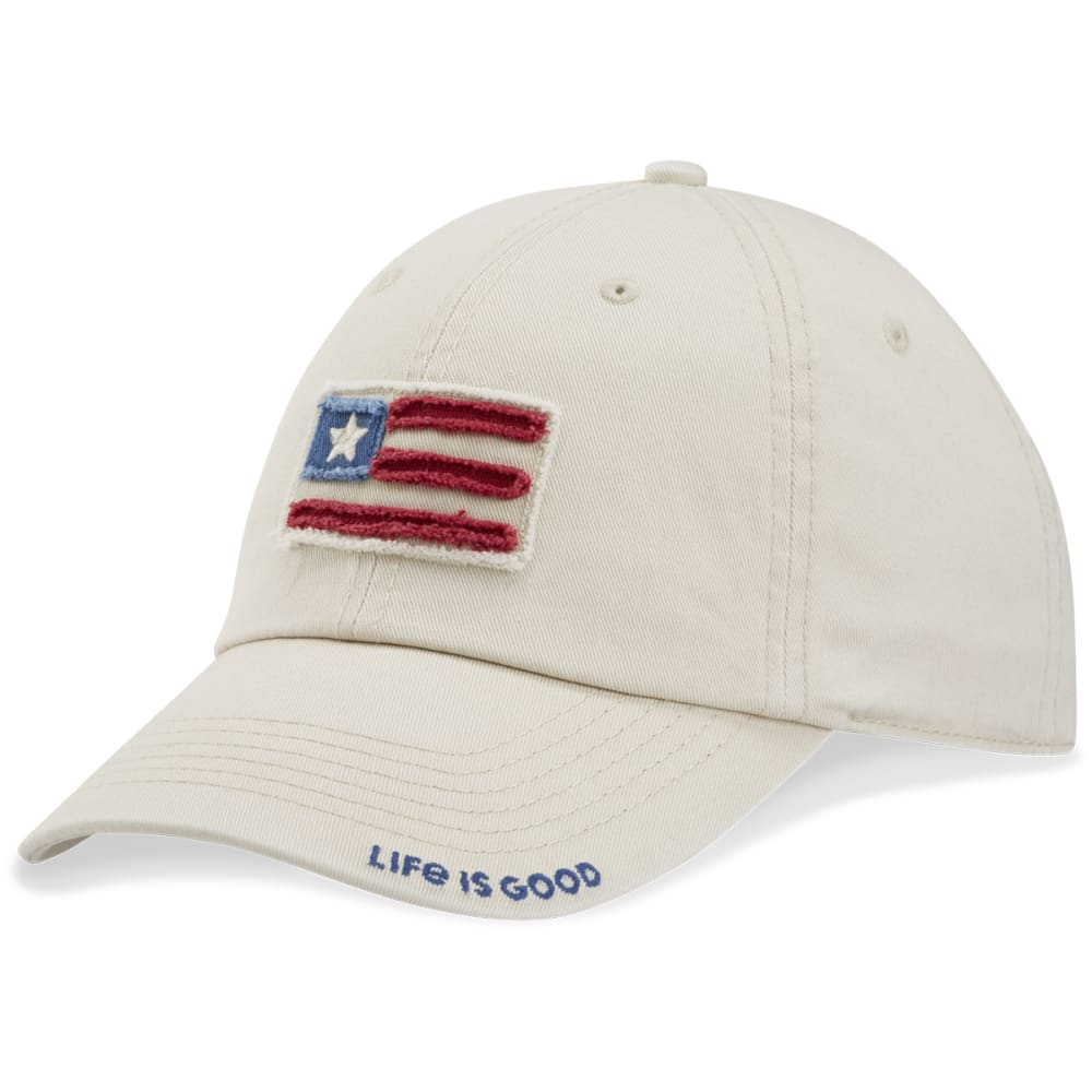 LIFE IS GOOD Women's Flag Applique Chill Tattered Adjustable Cap - BONE