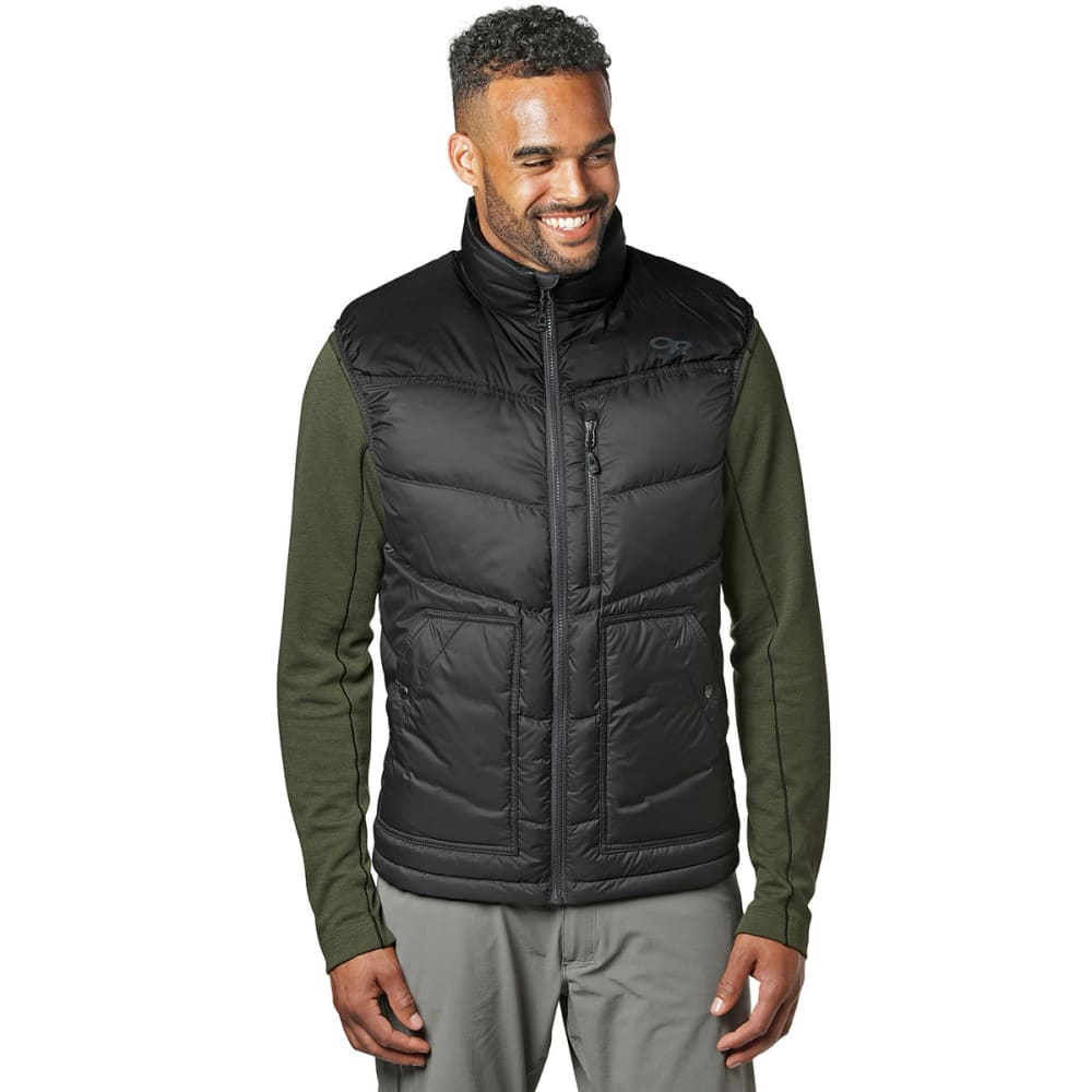 OUTDOOR RESEARCH Men's Transcendent Down Vest - STORM PRINT/BLA-1719