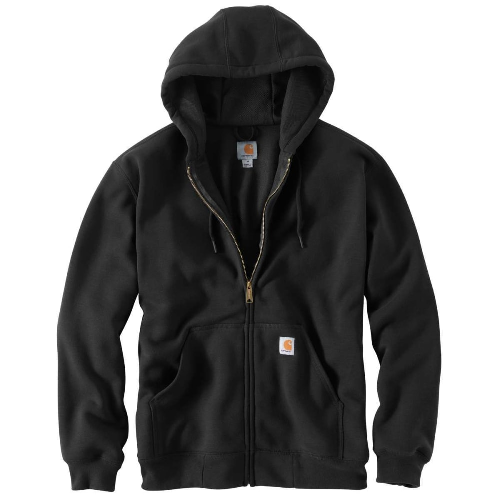 CARHARTT Men's Rain Defender Rutland Thermal-Lined Hooded Zip-Front Sweatshirt - BLACK