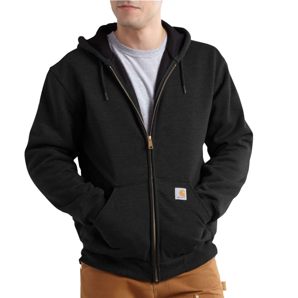 CARHARTT Men's Rain Defender Rutland Thermal-Lined Hooded Zip-Front Sweatshirt - BLACK