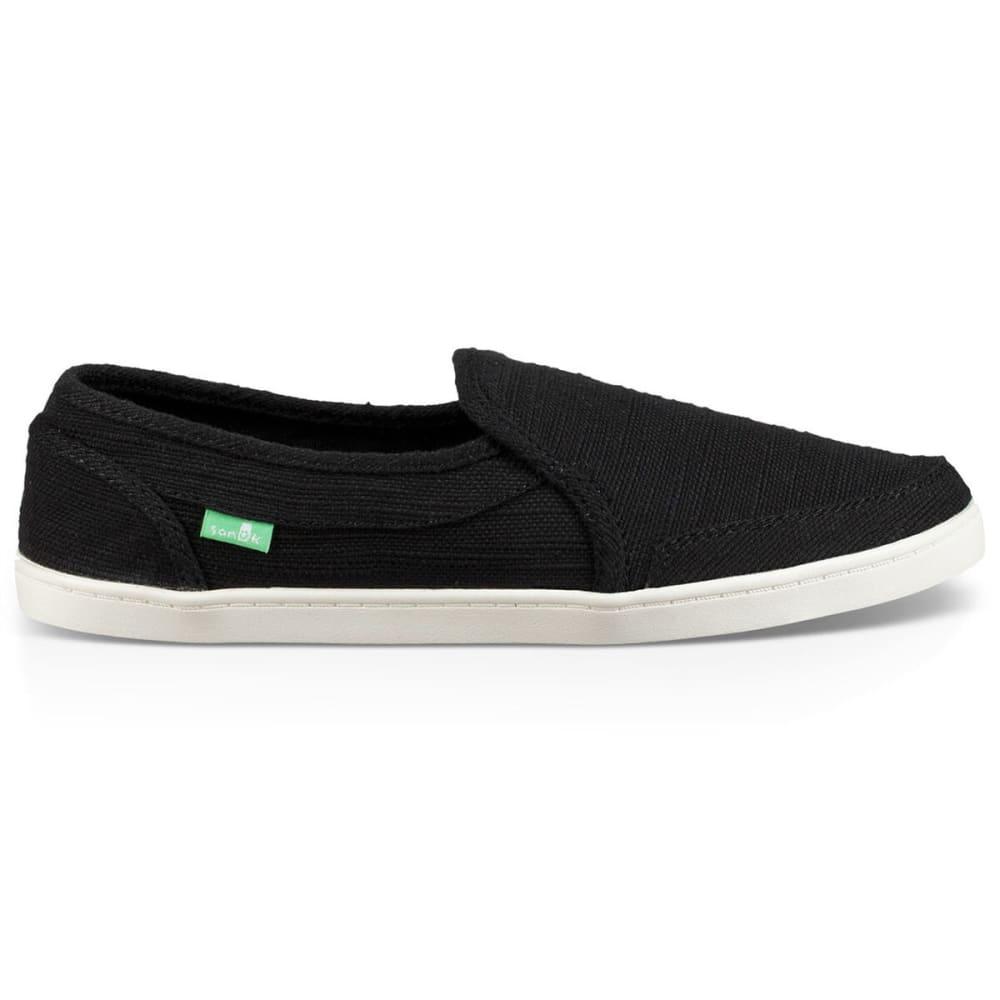 SANUK Women's Pair O Dice Hemp Shoes - BLK- BLACK