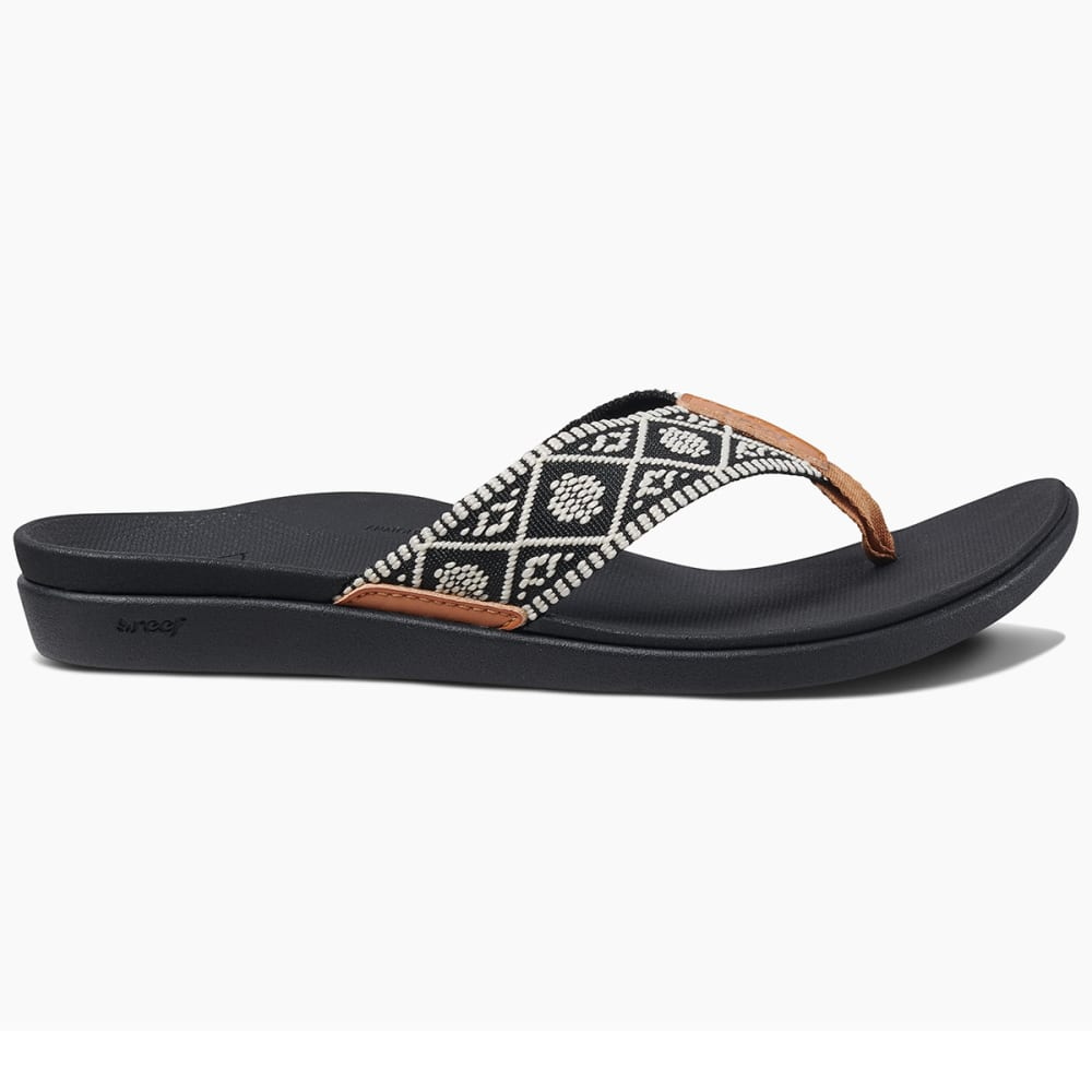 REEF Women's Ortho Bounce Woven Sandals - BLACK/WHITE -BLW