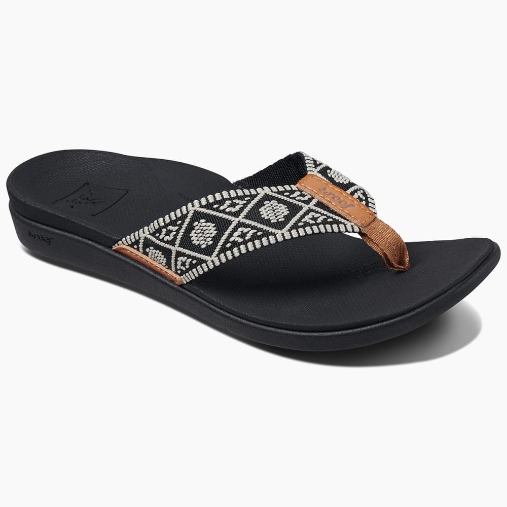 REEF Women's Ortho Bounce Woven Sandals - BLACK/WHITE -BLW