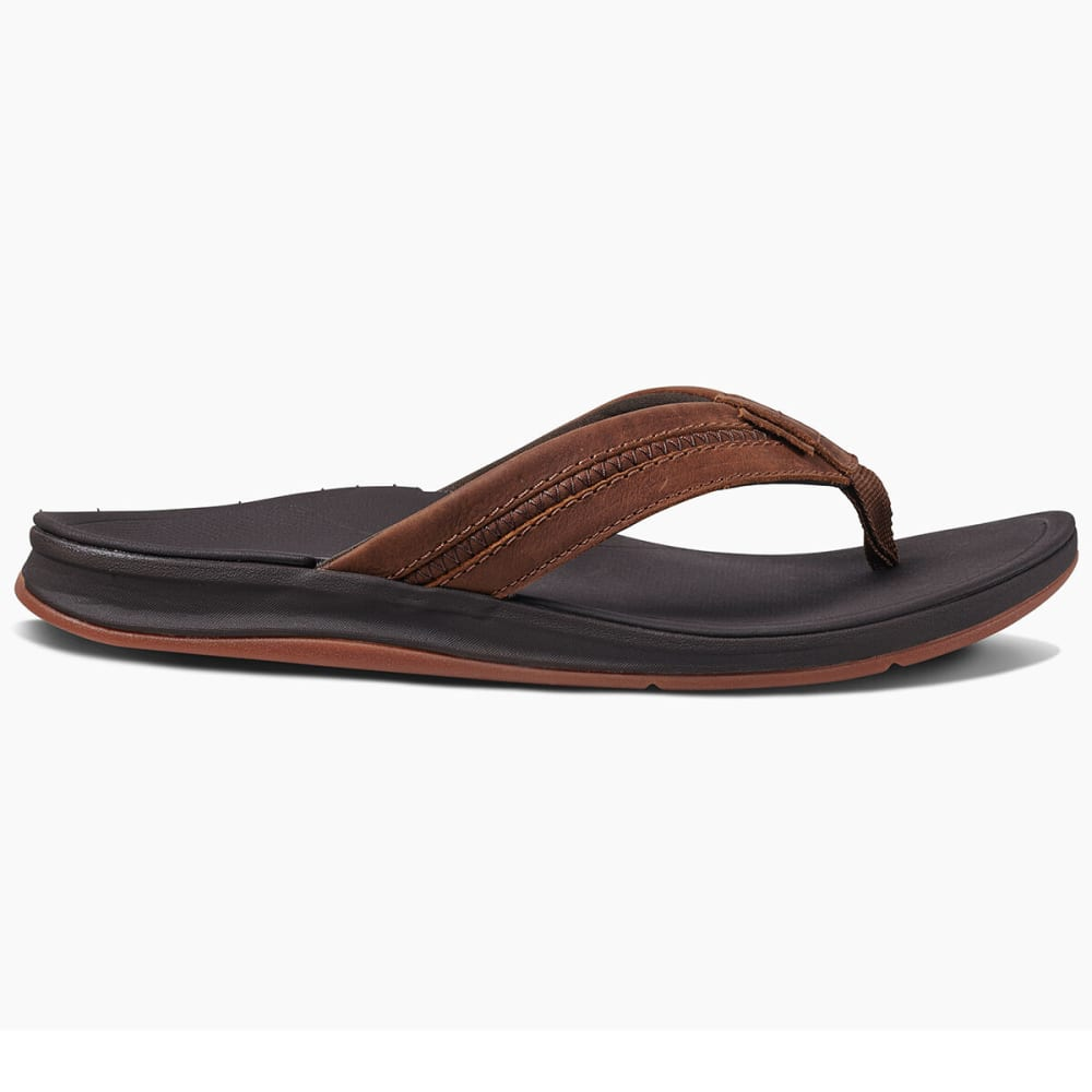 REEF Men's Leather Ortho Bounce Coast Flip Flops - BROWN