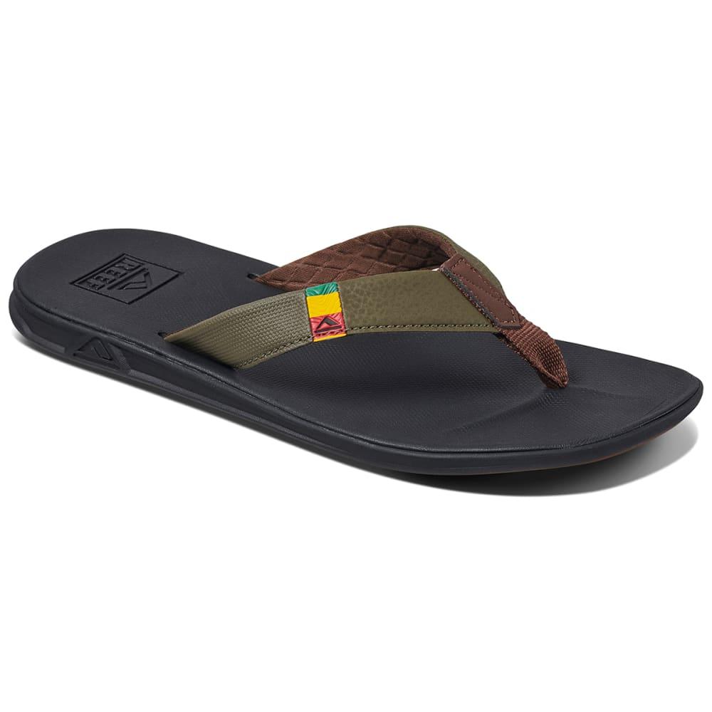 REEF Men's Slammed Rollover Sandals - OLIVE/RASTA