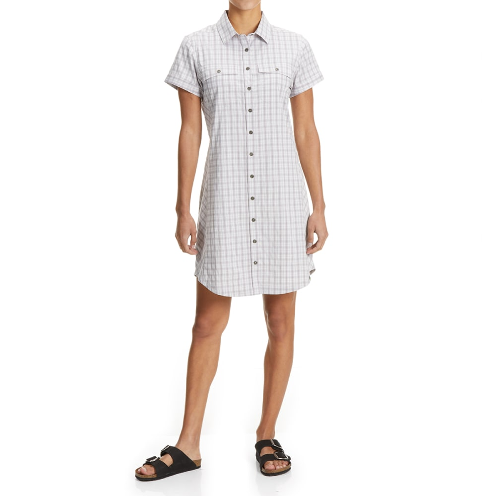 EMS Women's Journey Woven Short-Sleeve Shirt Dress - VINTAGE VIOLET PLAID