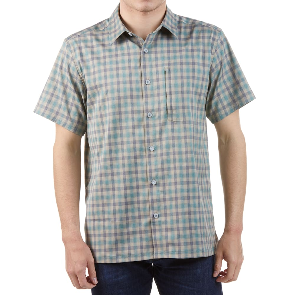 EMS Men's Journey Woven Short-Sleeve Shirt - DRESS BLUES PLAID