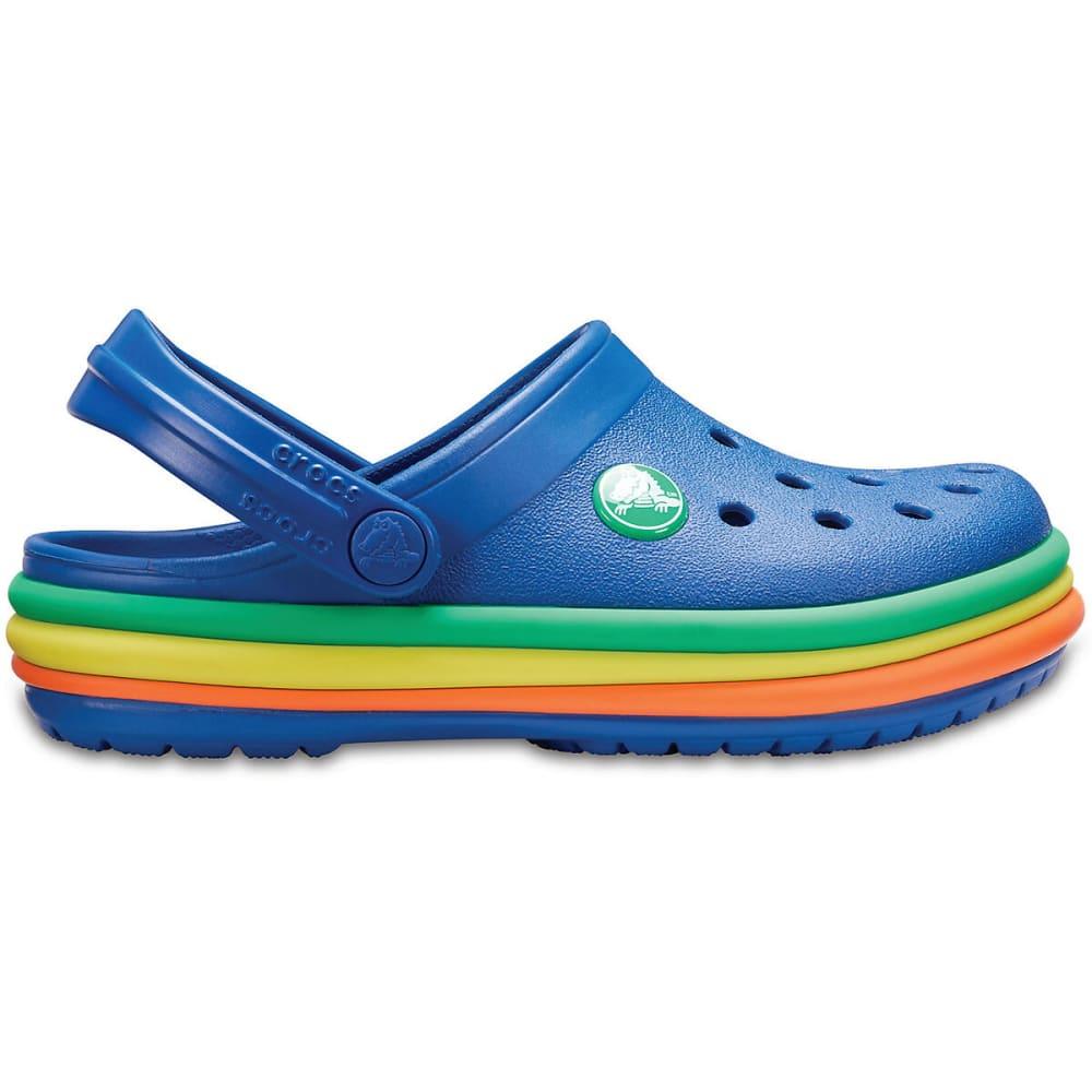 CROCS Kids' Rainbow Band Clogs - BLUE JEAN-4GX