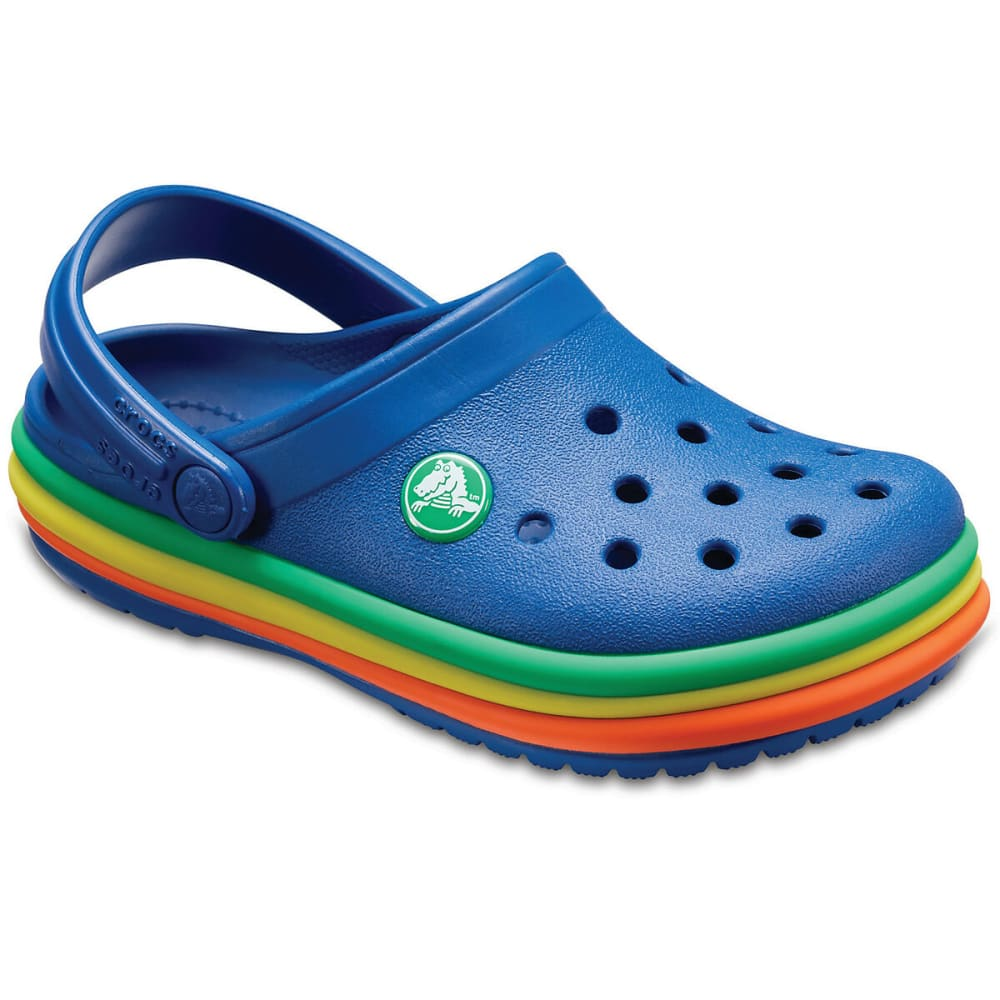 CROCS Kids' Rainbow Band Clogs - BLUE JEAN-4GX