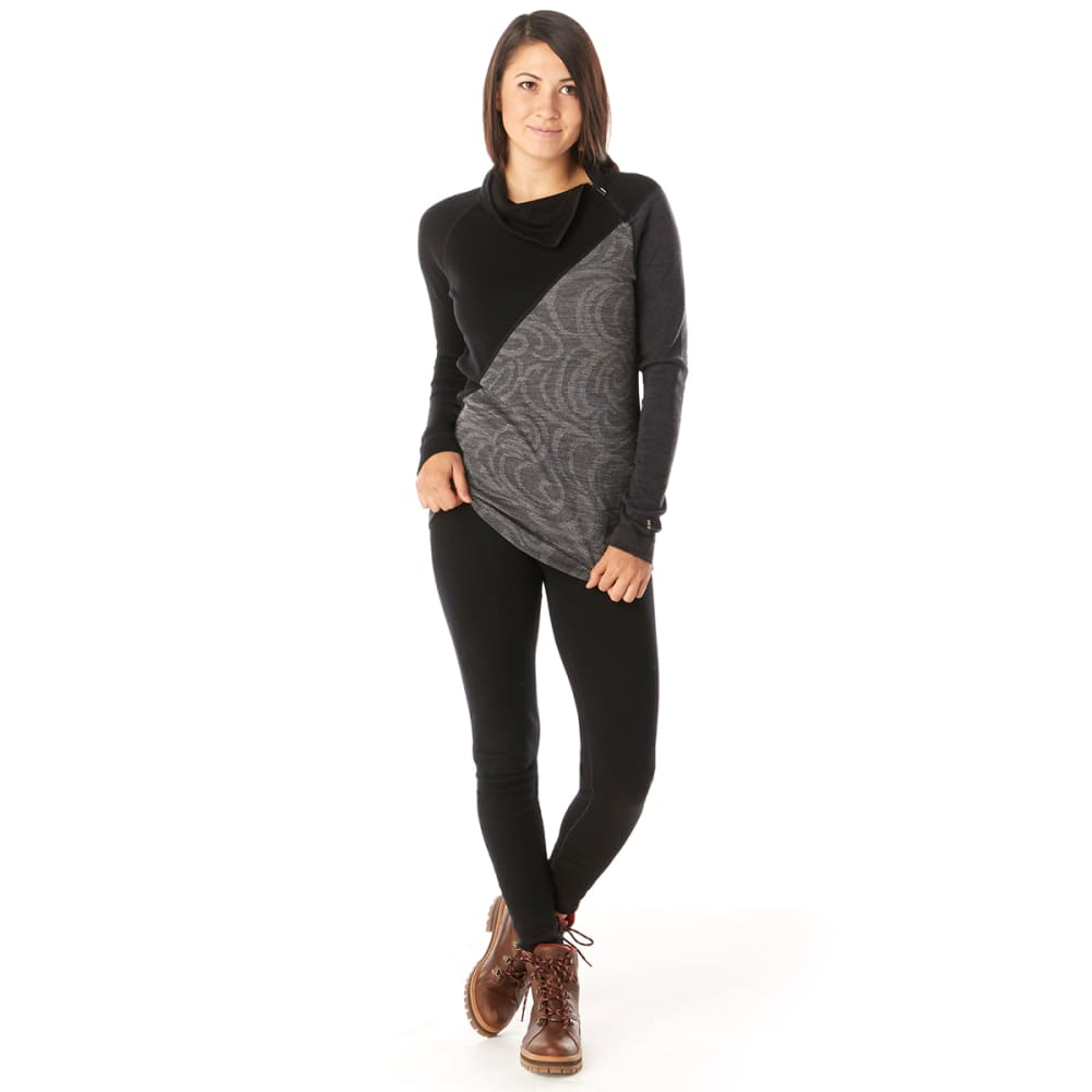 SMARTWOOL Women's Merino 250 Asym Top - BLACK SNOW SW - C21