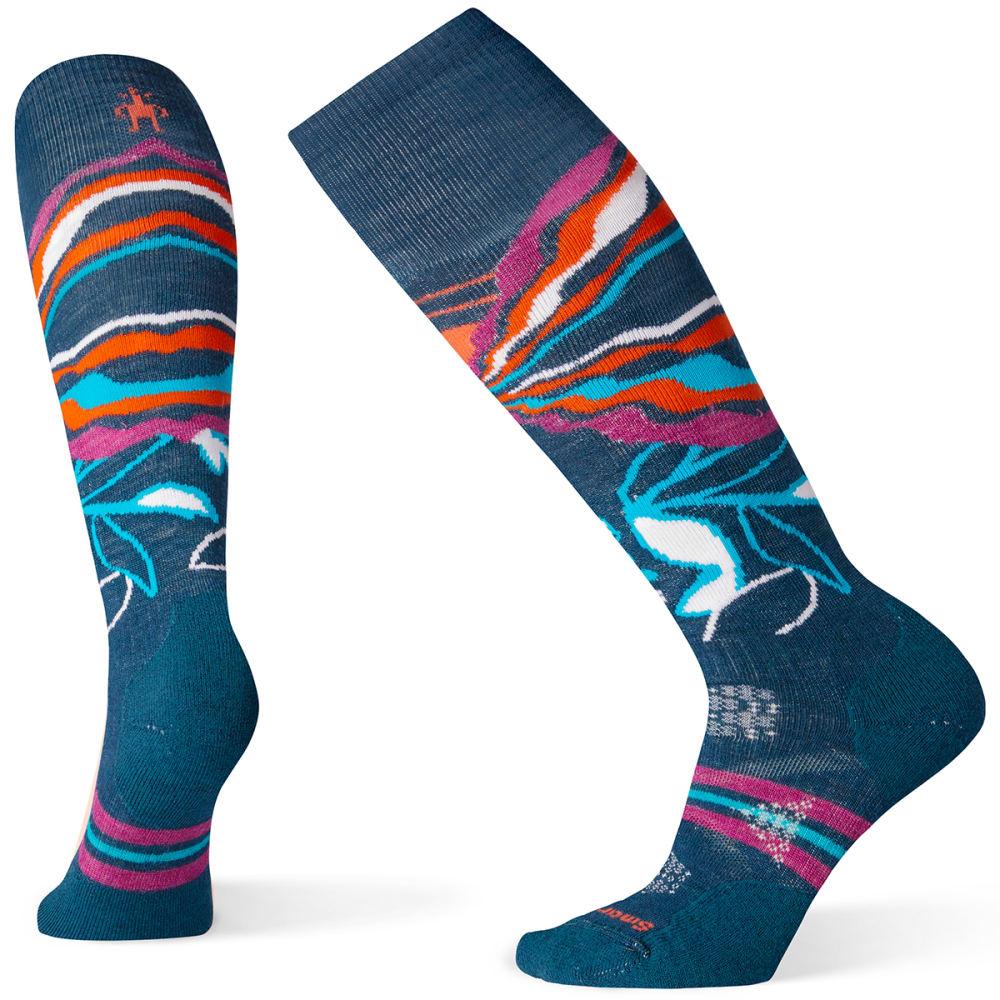 SMARTWOOL Women's PhD Ski Medium Pattern Sock - DEEP MARLIN - C51