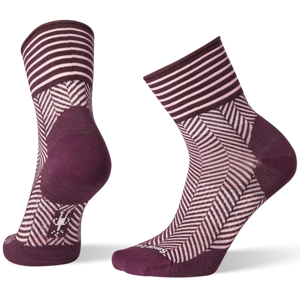 SMARTWOOL Women's Herringbone Mini Boot Socks - BORDEAUX - 590