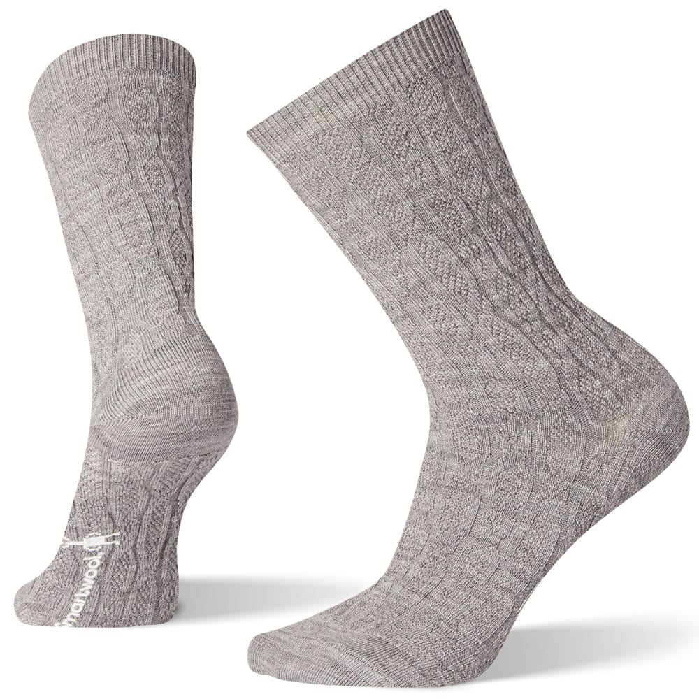 SMARTWOOL Women's Chain Link Cable Crew Socks - LT GREY - 039