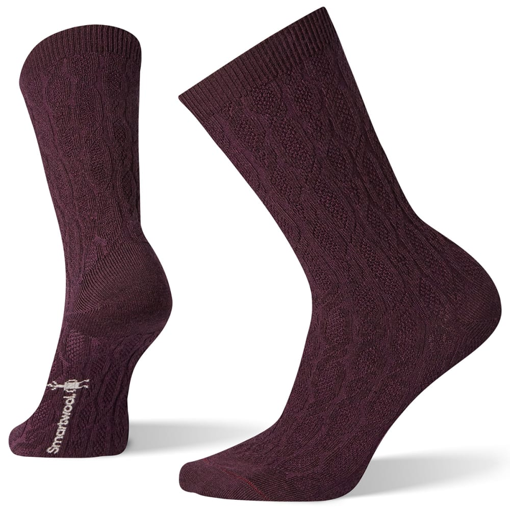 SMARTWOOL Women's Chain Link Cable Crew Socks - BORDEAUX - 590