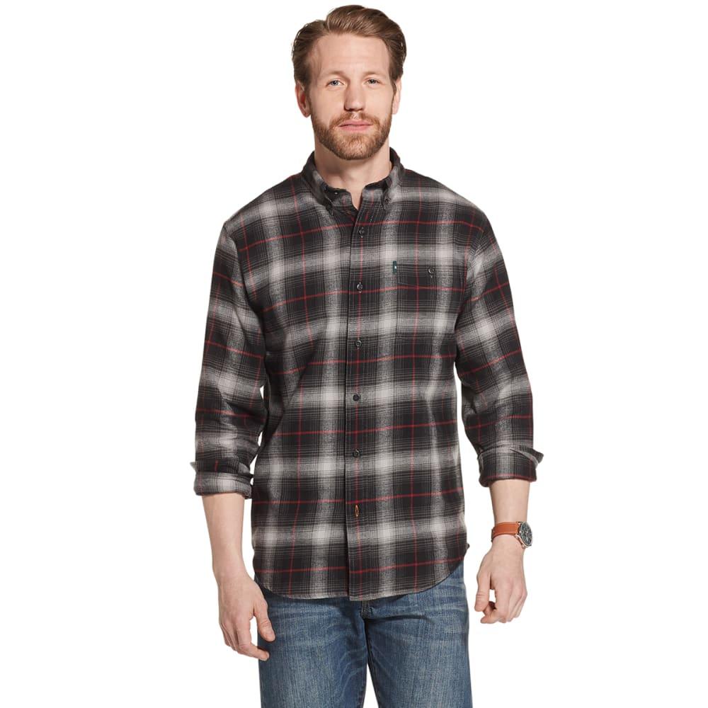 G.H. BASS & CO. Men's Long-Sleeve Plaid Flannel Shirt - BLACK-001
