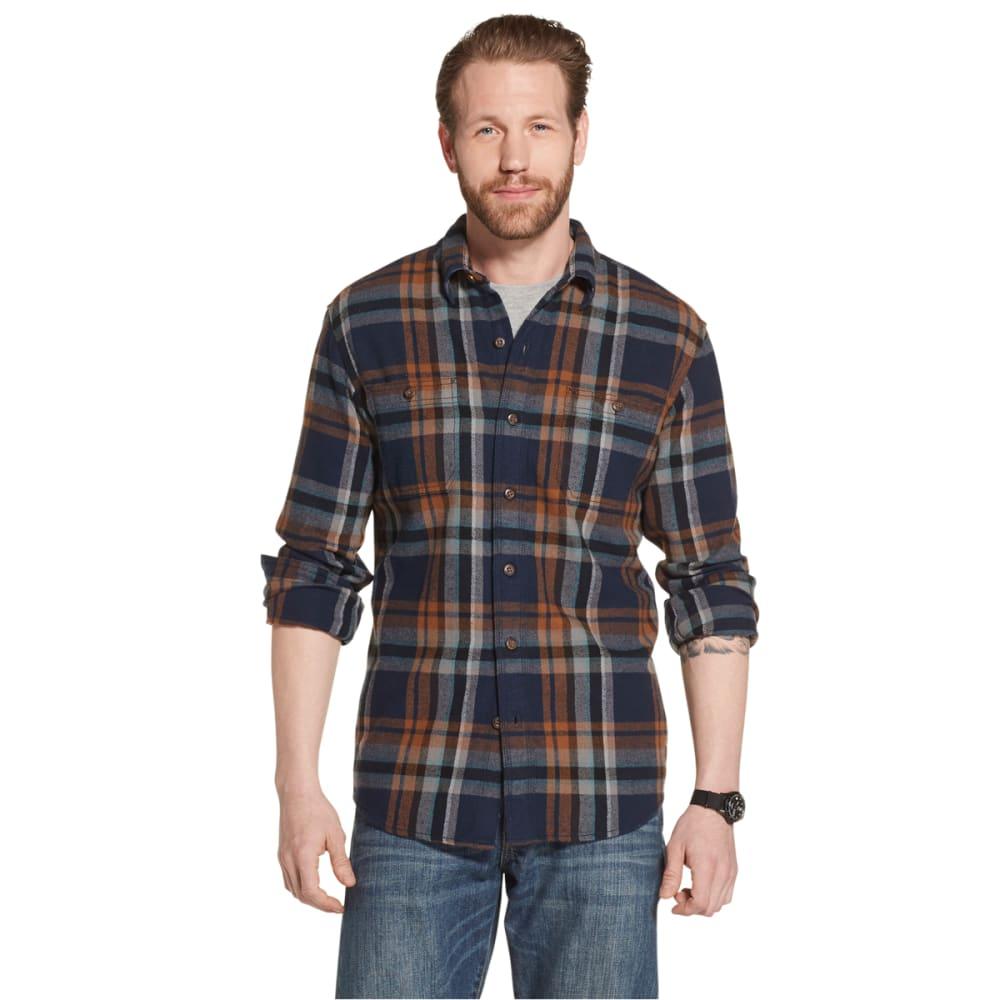 G.H.BASS & CO. Men's Long-Sleeve Plaid Twill Shirt - NAVY BLAZER-410