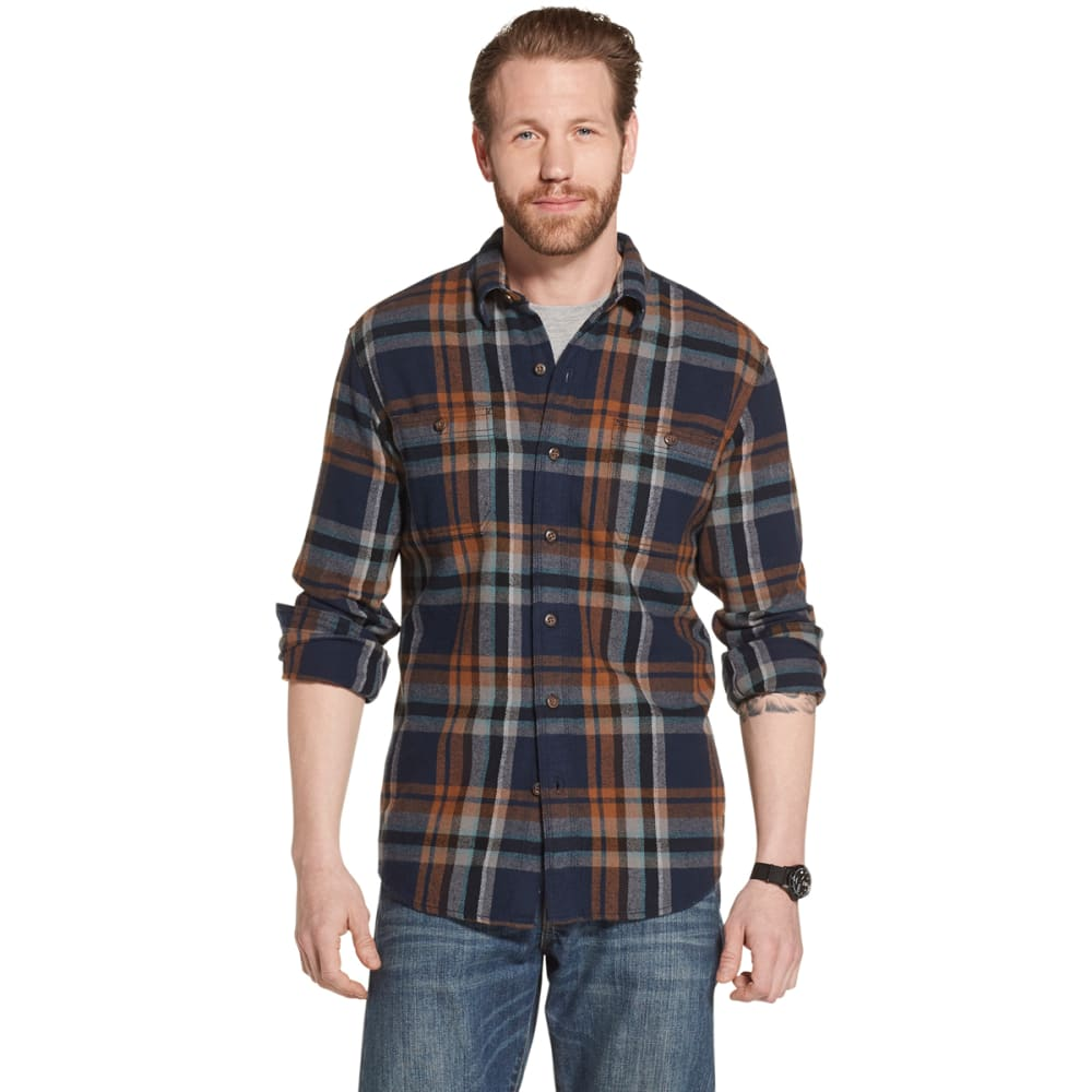 G.H. BASS & CO. Men's Long-Sleeve Plaid Twill Shirt - NAVY BLAZER-410