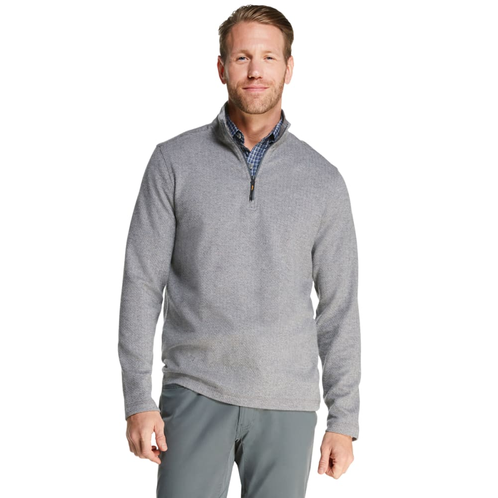 G.H.BASS & CO. Men's Herringbone Jacquard Quarter Zip Fleece - 031-GRIFFIN HEATHER