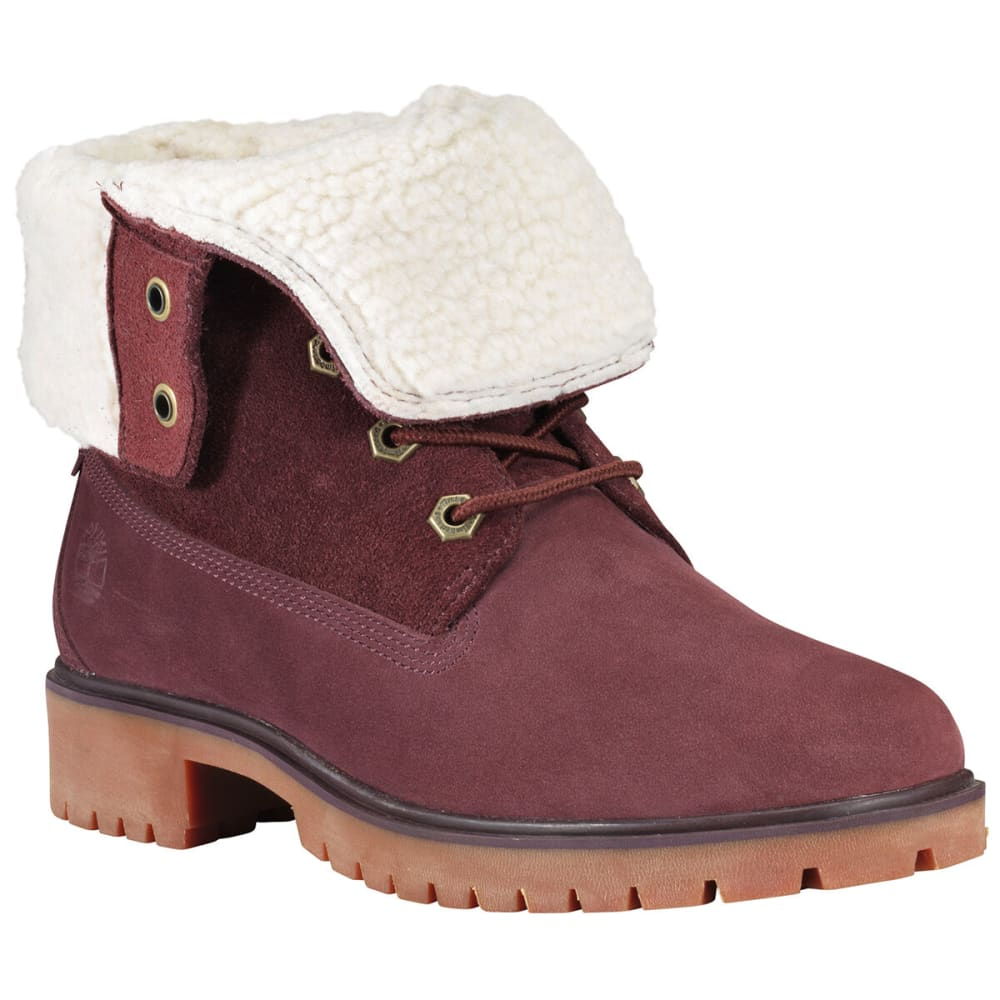 TIMBERLAND Women's Jayne Waterproof Fleece Fold-Down Boots - BURGUNDY