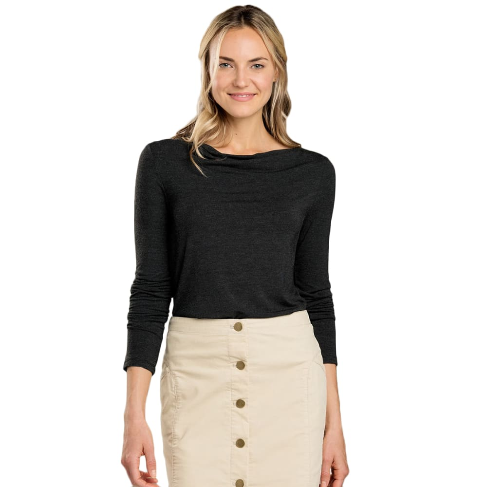TOAD AND CO Women's Bel Canto Drape Neck Long-Sleeve Shirt - BLACK HEATHER-099