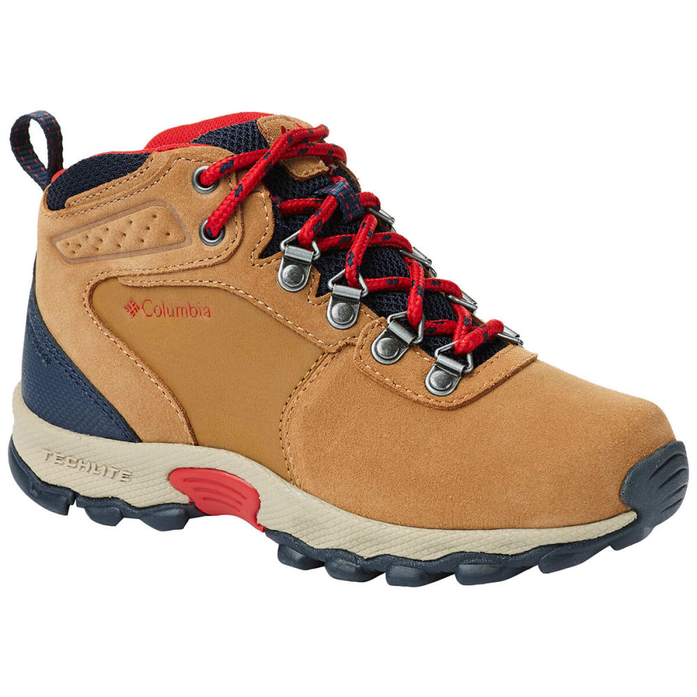COLUMBIA Kids' Newton Ridge Suede Boot - ELK/MT RED