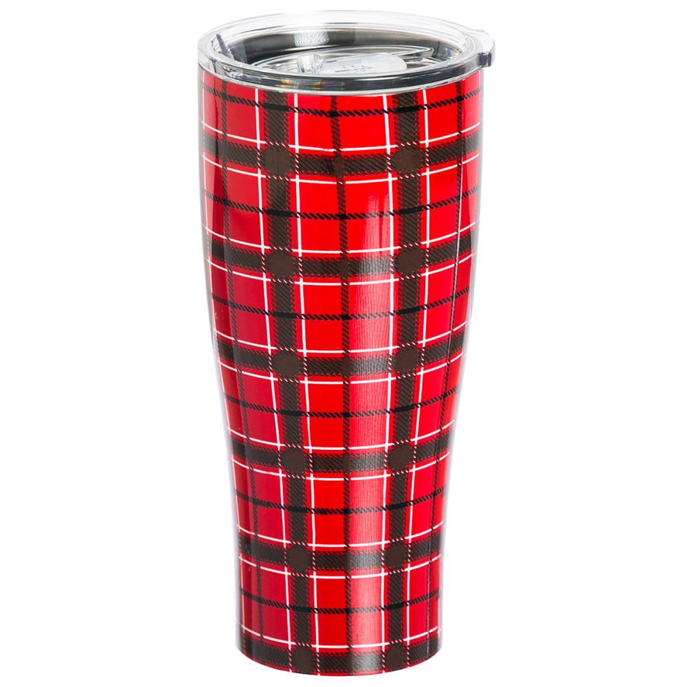 EVERGREEN ENTERPRISES Red Plaid Double Wall 17 oz. Stainless Steel Cup - NO COLOR