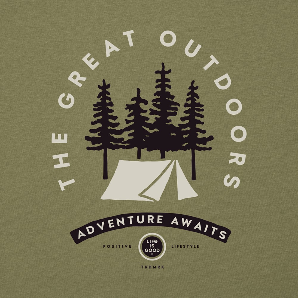 LIFE IS GOOD Men's Adventure Awaits Tee - FATIGUE GREEN