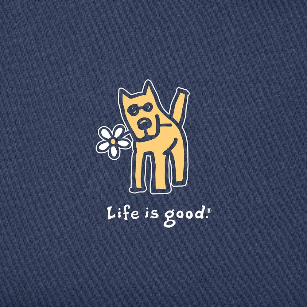 LIFE IS GOOD Women's Short-Sleeve Rocket With Daisy Crusher Tee - DARKEST BLUE