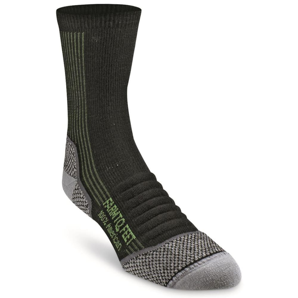 FARM TO FEET Men's Damascus 3/4 Crew Lightweight Technical Trail Socks - BLACK-001